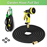 PLUSINNO Expandable Garden Water Hose FULL SET, Heavy Duty Expanding Hose Pipe with Shut Off Valve Solid Brass Connector, Hose Hanger and 9-pattern Spray Nozzle (25 Feet, Black)