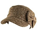 Ladies Cute Bow Space Dye Speckled Knit Cadet Castro GI Visor Cap Hat Brown