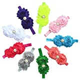 QS® Baby Girl Headbands with Dual Flower and Mid Pearl (Pack of 9)