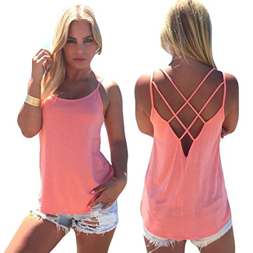 Blooming Jelly Women's Casual Loose Strap Hollow Out Back Camisole Tank Tops (Medium, Pink) (Women Summer Clothes compare prices)