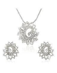 Mahi Rhodium Plated White Shimmering Dahlia Flower Pendant Set Made With Swarovski Elements For Women NL1104126RWhi...