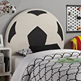 Upholstered Soccer Ball Twin HB (Black/White) (51.13H x 3.50W x 42.00D)