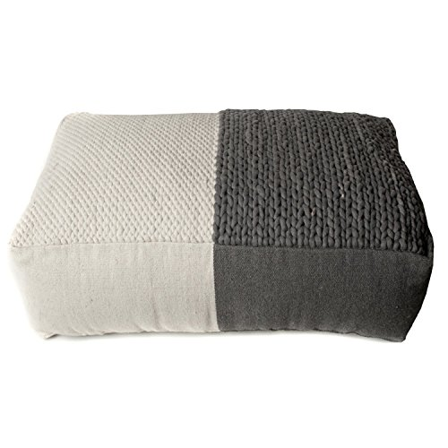 TrendSage Plain Braided Double Pouf Ottoman, 28 by 44 by 15-Inch, Grey and White