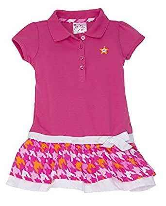 (A2QS) Kidzone Girls Short Sleeve Knit Polo Tiered Dress (Sizes 2T-6x) in Hot Pink, 4