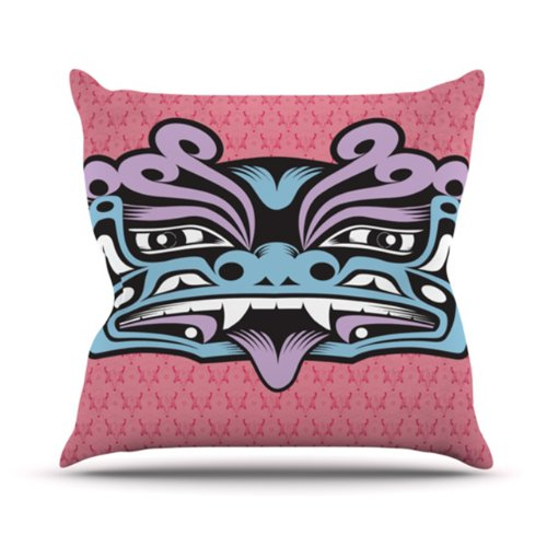 """Kess Inhouse Louie Gong """"Blue Fu Dog"""" Outdoor Throw Pillow, 16 By 16-Inch"""