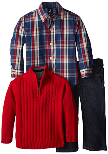 Nautica Little Boys' 3 Piece Woven And Sweater Set, Samba, 3T front-1028449