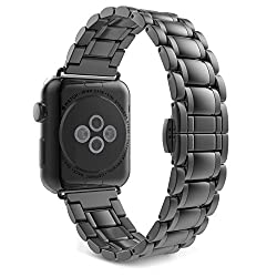 Apple Watch Band, MoKo Stainless Steel Metal Replacement Smart Watch Strap Bracelet for Apple Watch 38mm All Models - Space GRAY (Not Fit iWatch 42mm Version 2015)