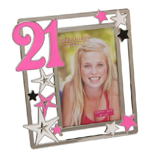 21st Birthday Impressions Silverplated Photo Frame with Stars - Pink