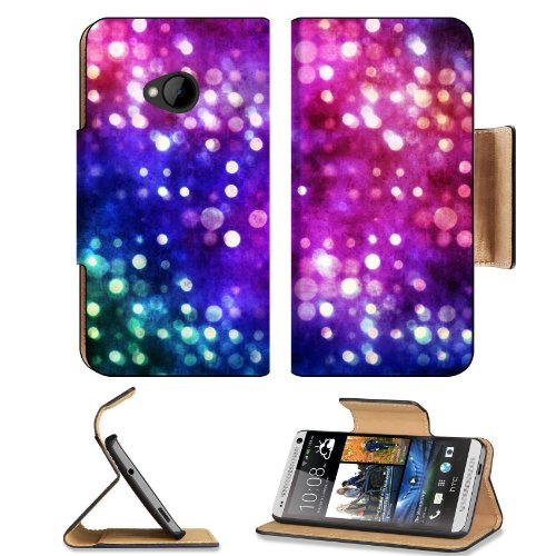 Abstract Circles Dots Colors Colors Bokeh Effect Htc One M7 Flip Cover Case With Card Holder Customized Made To Order Support Ready Premium Deluxe Pu Leather 5 11/16 Inch (145Mm) X 2 15/16 Inch (75Mm) X 9/16 Inch (14Mm) Liil Htc One Professional Cases Acc