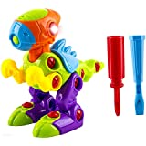 WolVol Take-A-Part Dinosaur Toy with Light and Sounds, Equipped with two Screwdrivers