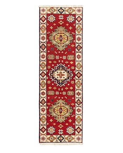 """Hand-Knotted Royal Kazak Wool Rug, Red, 2' x 6' 7"""" Runner"""