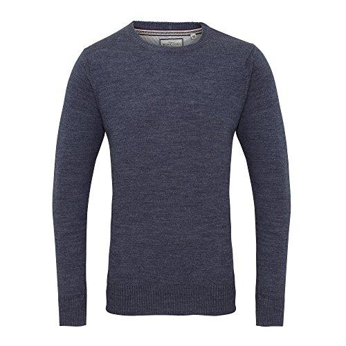 Brave Soul Mens Urbain Long Sleeve Crew Neck Sweater/Jumper (XL) (Dark Denim Marl)