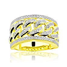 buy 10K Gold Mens Diamond Ring Cuban Link Style 13Mm Wide 3/4Cttw