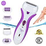 Codream 4-in-1 Rechargeable Electric Callus Remover Pumice Stone Rollers, Lady Shaver, Epilator & Hair Clipper Exfoliates Dead Skin and Safe Hair Removal for Women or Men