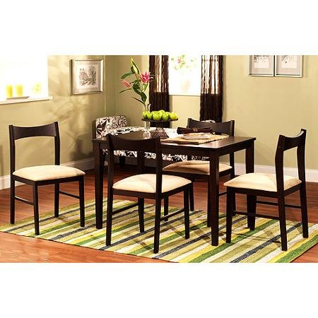 Contemporary 5 Piece Dining Sets Rectangular Table Upholstered Chair Espresso Finish Polyurethane Foam Rubberwood