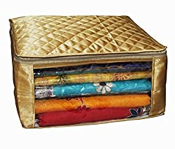 Kuber Industries Saree cover Set Of 3 Pcs large size in golden satin Wedding Gift