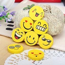Kwaii Emoji Smile Face Cartoon Erasers for Kids, Pack of 32