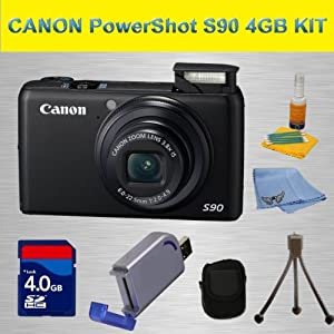 Canon PowerShot S90 10MP Digital Camera with 3.8x Wide Angle Optical Image Stabilized Zoom and 3-inch LCD , Deluxe Carrying Case, 3pc. Lens Cleaning Kit, 4 GB High Speed Card Memory Card, Hi-Speed SD USB 2.0 Card Reader, Mini Flexible Table Top Tripod and Angel Cleaning Cloth