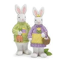 Set of 2 Easter Bunny Rabbit Figurines 12 1/4