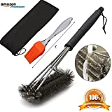 [Bonus-Pack] Premium BBQ Grill Brush - 100% Rust Proof 3 in 1 Stainless Steel Bristles - Ideal for Cleaning Char-Broil Weber Porcelain and Infrared Barbecue Grills + FREE Basting & Pastry Brush