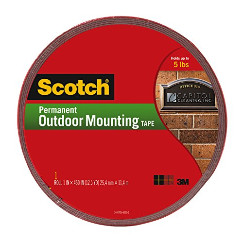 Scotch Permanent Outdoor Mounting Tape, 1 Inch x 450 Inches (4011-LONG) (Outdoor Tape compare prices)