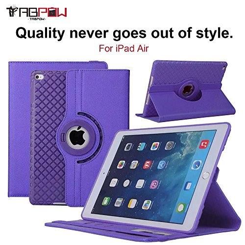 Fantastic Deal! iPad Air Case, TabPow [360 Degree Rotating Case] Purple Premium PU Leather TPU Flip ...