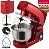 VonShef Stand Mixer, 5.5 Litre, 1200W, Red - Silicone Beater, Balloon Whisk, Dough Hook, Dust Cover & Splash Guard + FREE 200 Cakes and Bakes Recipe Book RRP £4.99