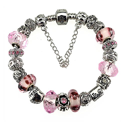 Silver Plated Murano Glass Bead Charm Bracelets