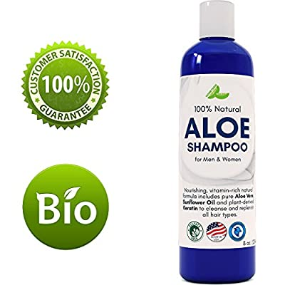 Aloe Vera Shampoo with Sunflower & Keratin - Natural Hydrating Shampoo for Soft & Shiny Hair - Sulfate Free for Color Treated Hair - Men & Women (8oz)