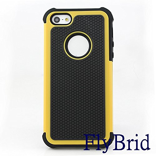 Iphone 5 Case, Iphone 5s Case,flybrid[drop Resistance][shockproof][stylish]soft Shock Absorption TPU Inner Sleeve & Impact-resistant Hard Plastic Case Back Cover Iphone 5,iphone 5s (Yellow)