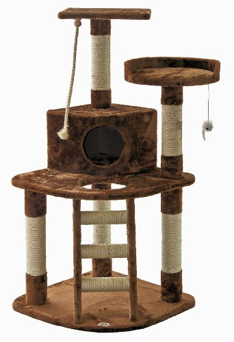 Brown carpeted Go Pet Club cat tree with sisal scratching posts