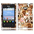 Fincibo (TM) LG Optimus Logic L35g Dynamic L38c Protector cover Snap On Hard Case - Dog Family