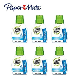 6 Bottles Paper Mate Liquid Paper Correction Fluid Water Base Low Odor Non-Toxic