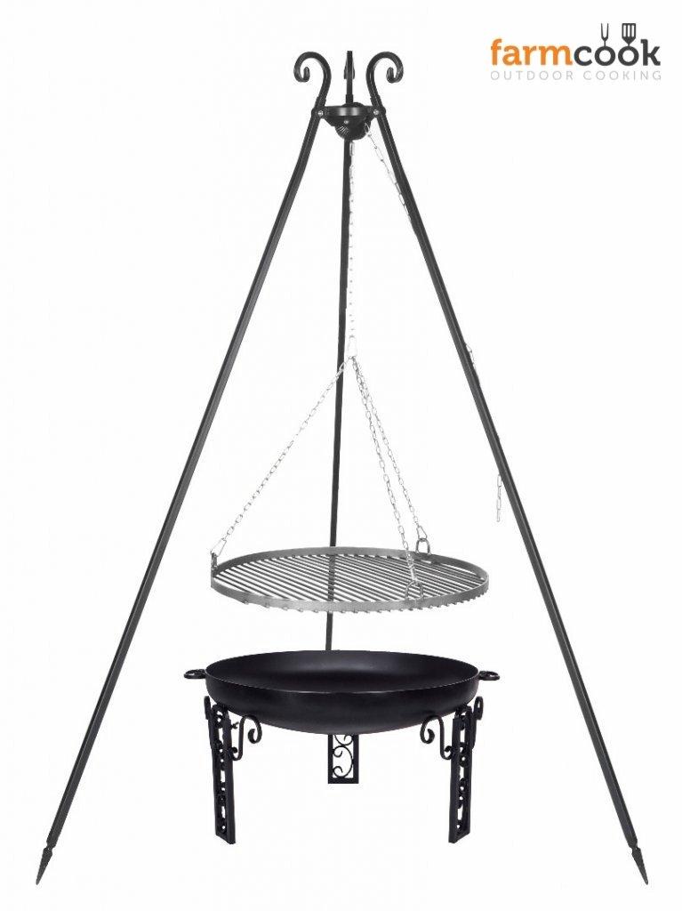 Dreibein Grill VIKING Höhe 180cm + Grillrost aus Rohstahl Durchmesser 70cm + Feuerschale Pan40 Durchmesser 80cm online kaufen