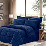Sweet Home Collection 8 Piece Bed In A Bag With Dobby Stripe Comforter, Sheet Set, Bed Skirt, And Sham Set - Queen... - B01A1GDKP4