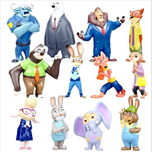 ZOOTROPOLIS Set di 12 Personaggi 5- 8 cm + 2 fogli di Sticker dei Minion In Regalo