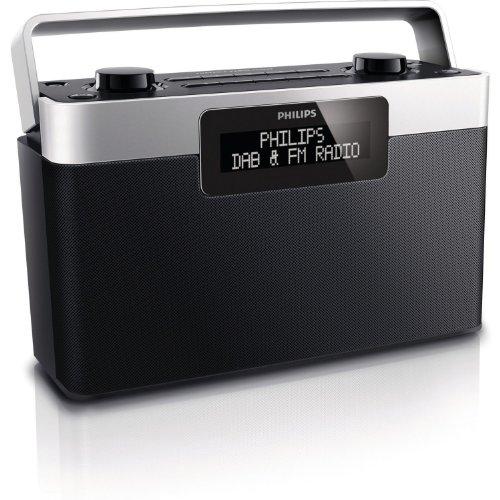Philips AE5430/10 Tragbares Radio mit DAB+ (Digitalradio), LCD-Display, Info-Anzeige, Smart Scan, Menüsteuerung, 2 W Ausgangsleistung (schwarz/silber)