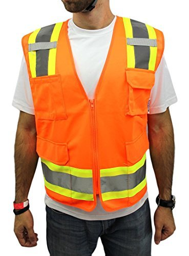 4XL -Surveyor Solid Orange Two Tones Safety Vest , Ansi/ Isea 107-2010