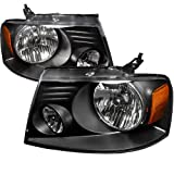 Spec-D Tuning 2LH-F15004JM-RS Ford F150 Black Crystal Head Lights Lamps Pair