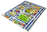Little Helper IVI Exclusive Extra Large & Thick Childrens 3D Play Mat & Rug in a Colourful Town Design with 3 Dimensional Football Pitch, Car Park & Roads, Blue (160 x 230cm)