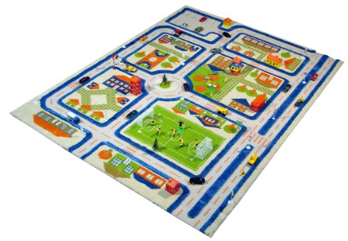 Little Helper IVI Exclusive Thick 3D Childrens Play Mat  &  Rug in a Colourful Town Design with 3 Dimensional Football Pitch, Car Park  &  Roads, Blue (100 x 150cm)