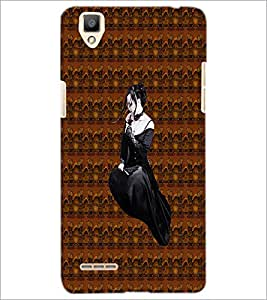 PrintDhaba Black Angel D-5643 Back Case Cover for OPPO F1 (Multi-Coloured)