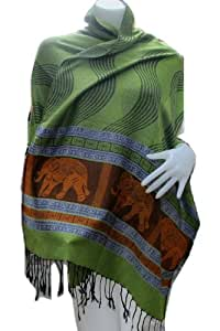 """""""HelloThailand"""" VERY NICE BIG THAI ROYAL ELEPHANT BIG POWER REALY NICE & LOVELY Scarf Shawl Pashmina Wrap Throw - Over 1000 beautiful colours to choose from (Approx. 27"""" x 70"""" (30% WOOL 40% Cotton 30% Polyester) HandWash This fashionable pashmina scarf, wrap or shawl is the perfect finishing touch to almost any outfit. (Best For Winter)"""