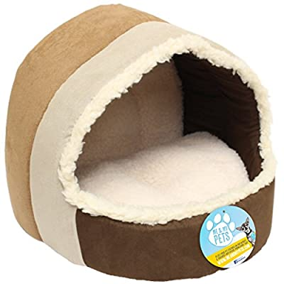 Me & My Brown & Beige Luxury Plush Cat Igloo
