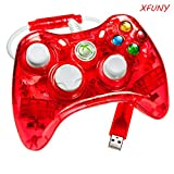 XFUNY(TM) Premium Newest Wired USB Cable Transparent Color Remote Controller W/Led Light For Microsoft Windows PC XBOX 360 XBOX360-Red