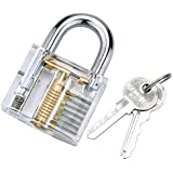 BESTOPE® Professional Padlocks Lock Crystal Cutaway of Practice Training Skill Pick Lock for Beginners Locksmith with Two Keys