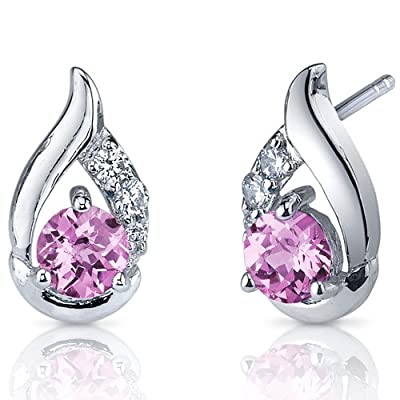 Revoni Radiant Teardrop Gemstone Round Cut CZ Diamond Earrings in Sterling Silver