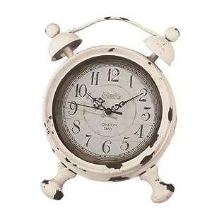 Midwest-CBK Alarm Desk Clock, Small, Distressed Ivory