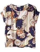 Vobaga Women's Bird Heart Geometric Print Short Sleeve Chiffon Top T-shirt Blouses