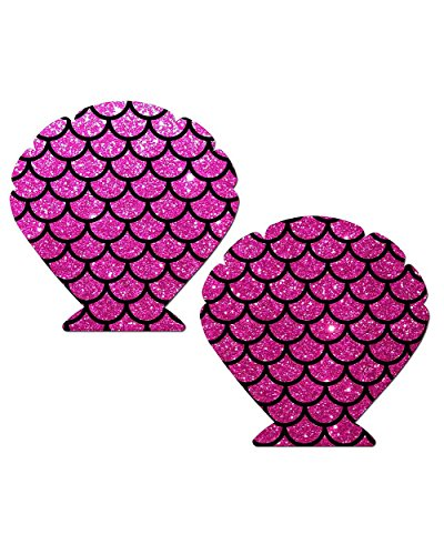 Pastease Glitter Scale Seashell Rave Pasties (Hot Pink)